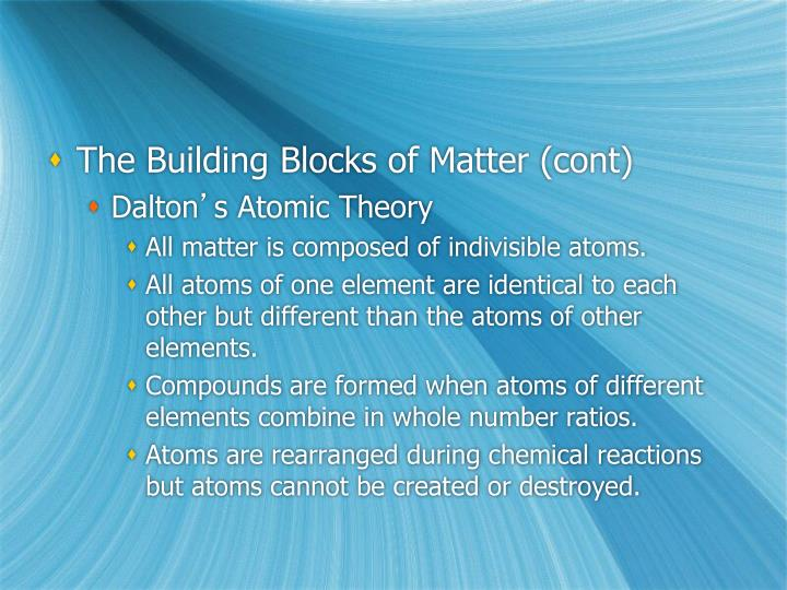 The Building Blocks of Matter (cont)