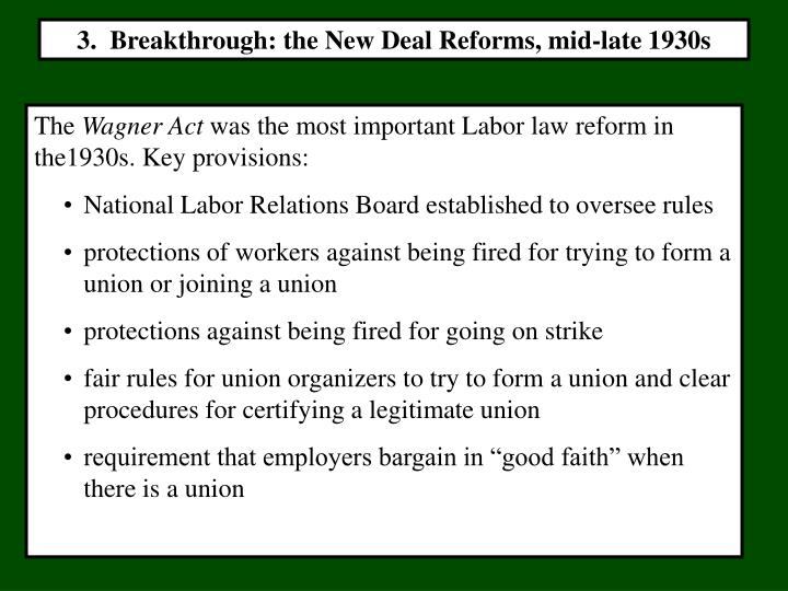 3.  Breakthrough: the New Deal Reforms, mid-late 1930s