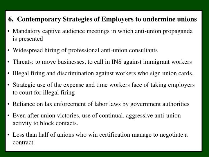 6.  Contemporary Strategies of Employers to undermine unions