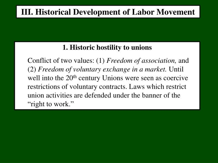 III. Historical Development of Labor Movement