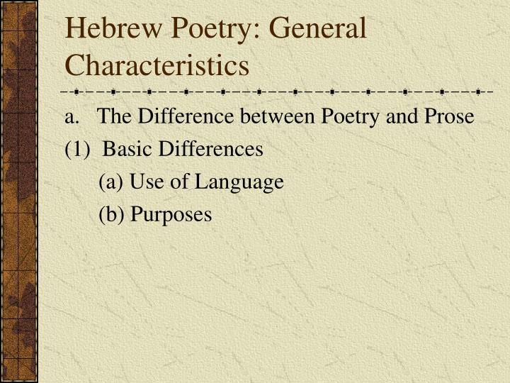 Hebrew Poetry: General Characteristics