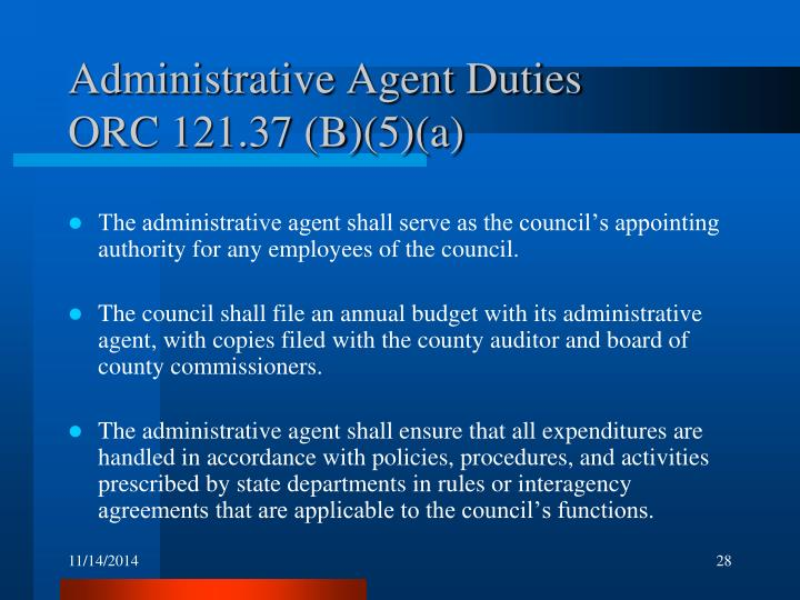 Administrative Agent Duties
