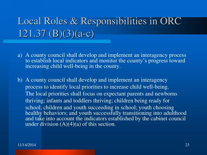 Local Roles & Responsibilities in ORC 121.37 (B)(3)(a-c)
