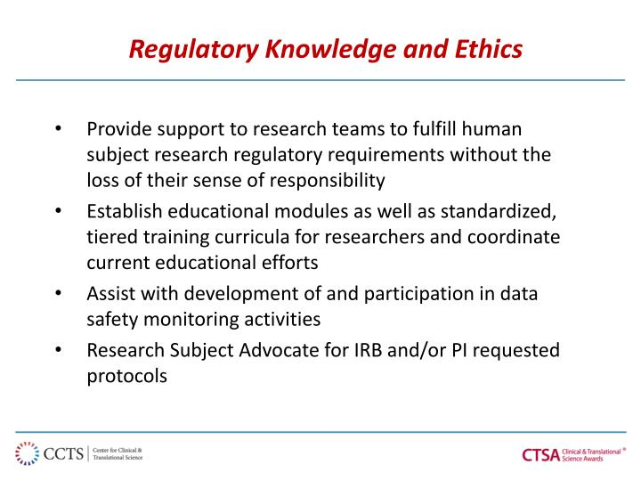 Regulatory Knowledge and Ethics