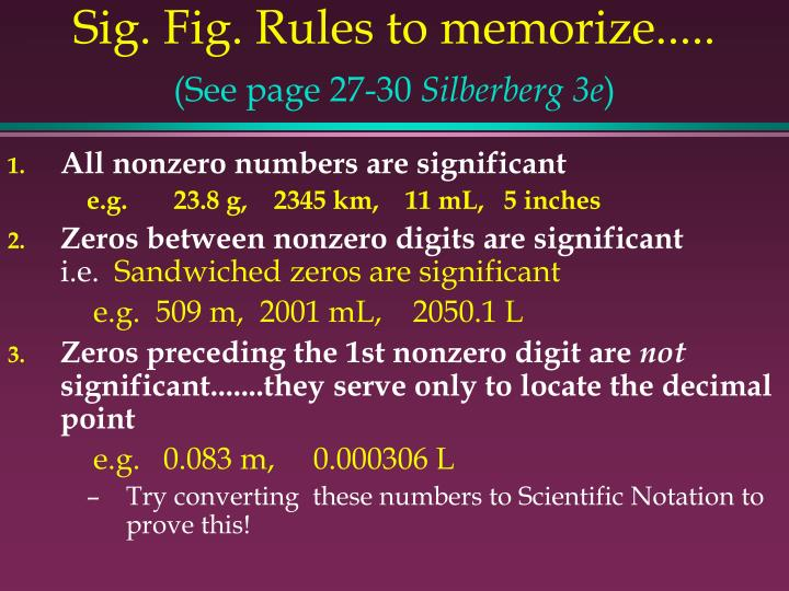 Sig. Fig. Rules to memorize.....