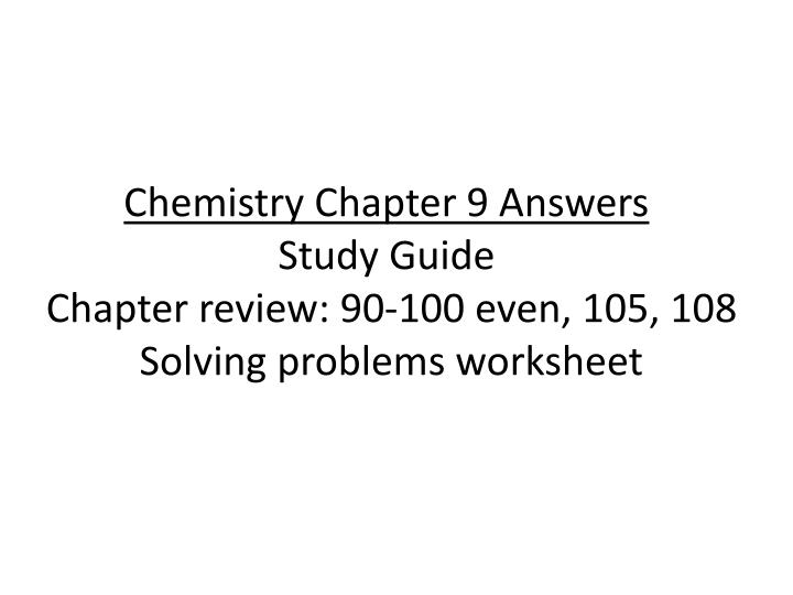 Chemistry Chapter 9 Answers