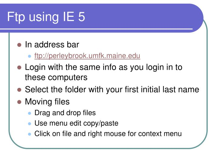 Ftp using IE 5