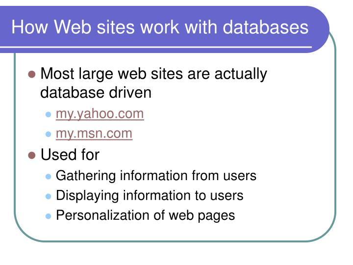 How Web sites work with databases