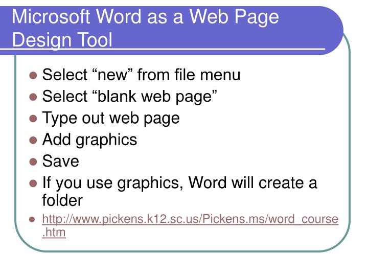 Microsoft Word as a Web Page Design Tool
