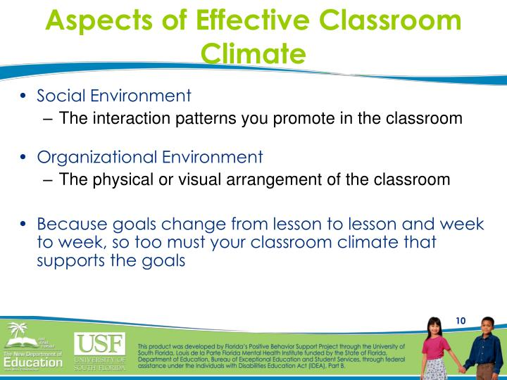Aspects of Effective Classroom Climate