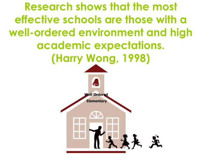 Research shows that the most effective schools are those with a well-ordered environment and high academic expectations.
