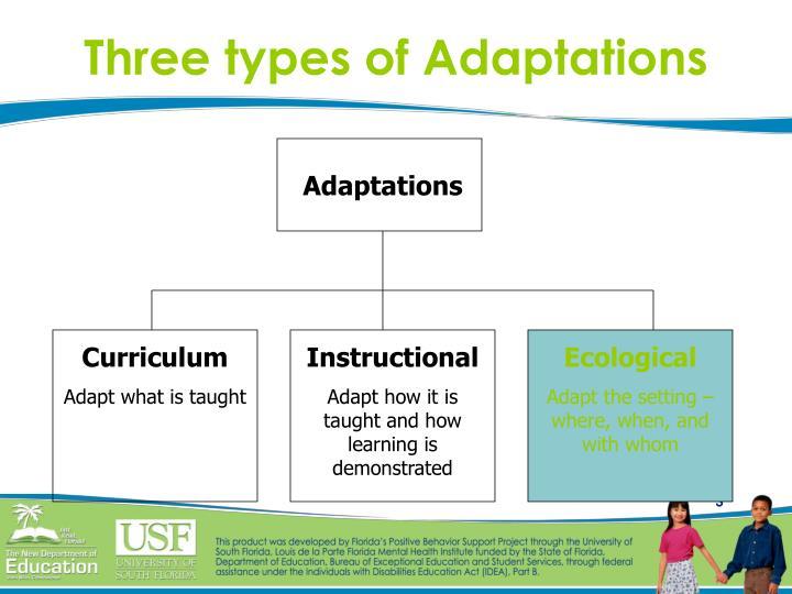 Three types of Adaptations