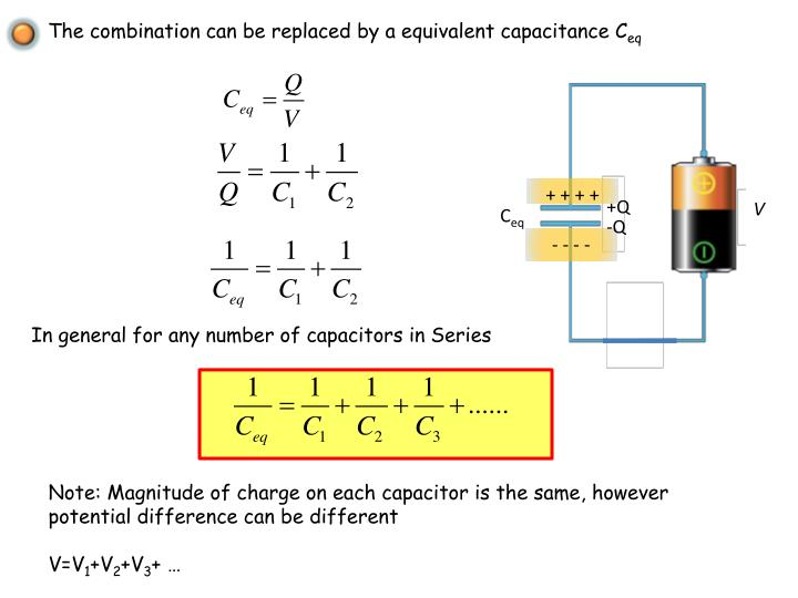 The combination can be replaced by a equivalent capacitance C