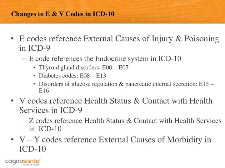 Changes to E & V Codes in ICD-10