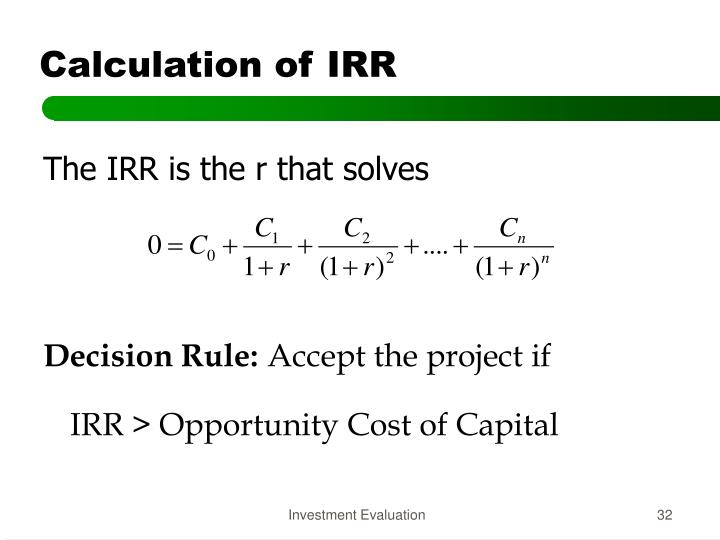 Calculation of IRR