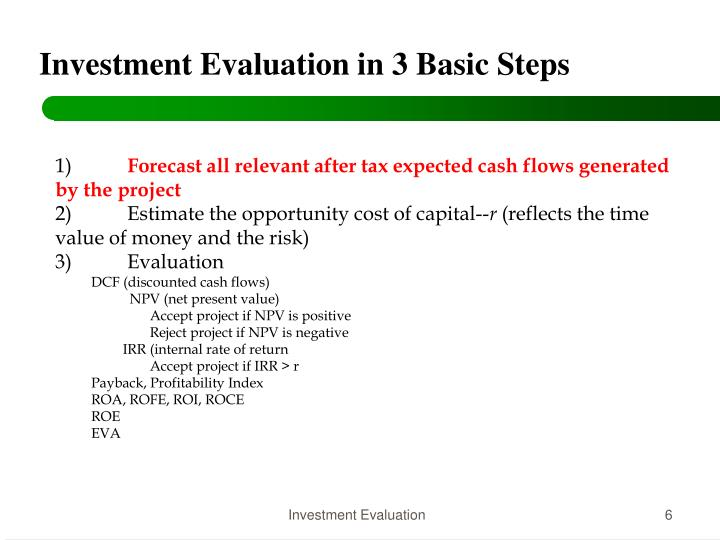Investment Evaluation in 3 Basic Steps