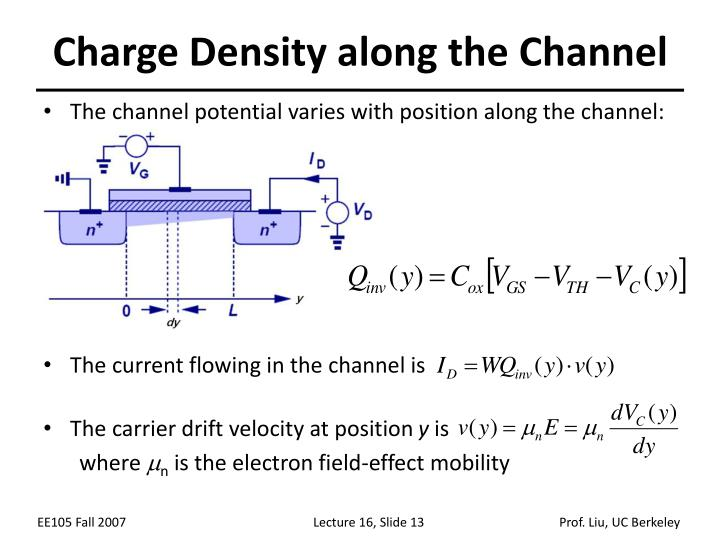 Charge Density along the Channel