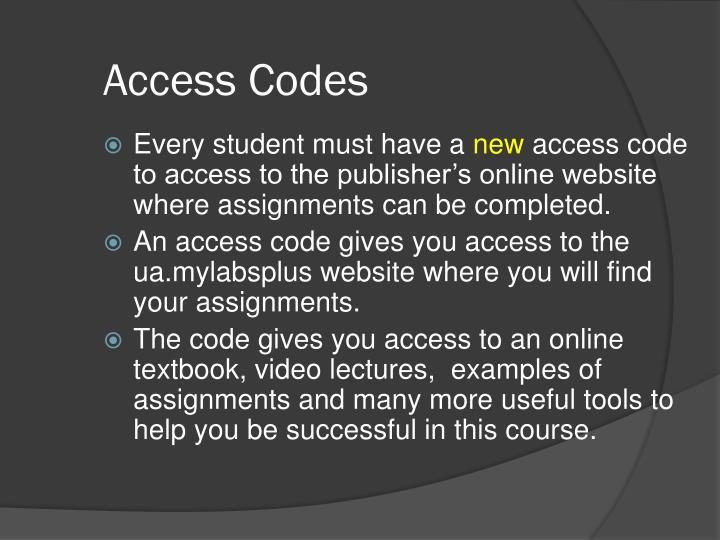 Access Codes