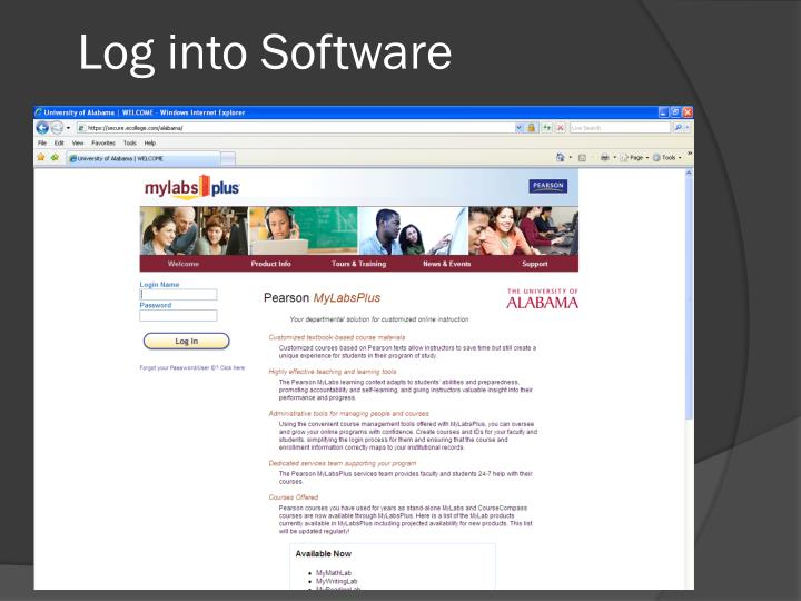 Log into Software
