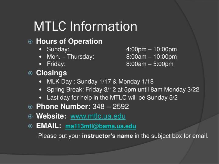 MTLC Information