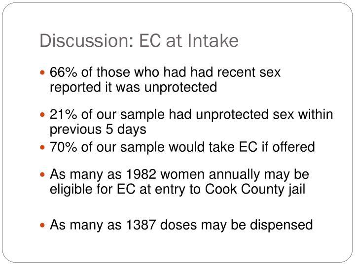 Discussion: EC at Intake