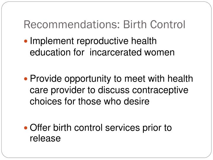 Recommendations: Birth Control