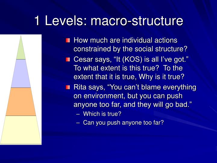 1 Levels: macro-structure
