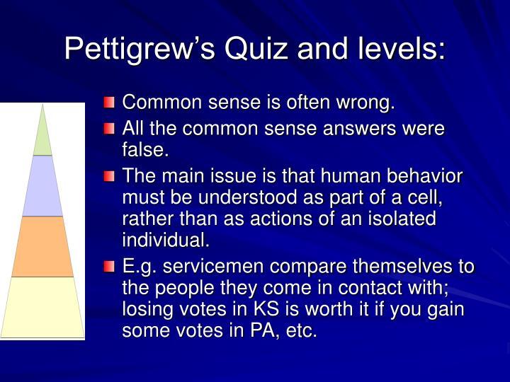 Pettigrew's Quiz and levels: