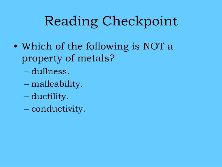Reading Checkpoint