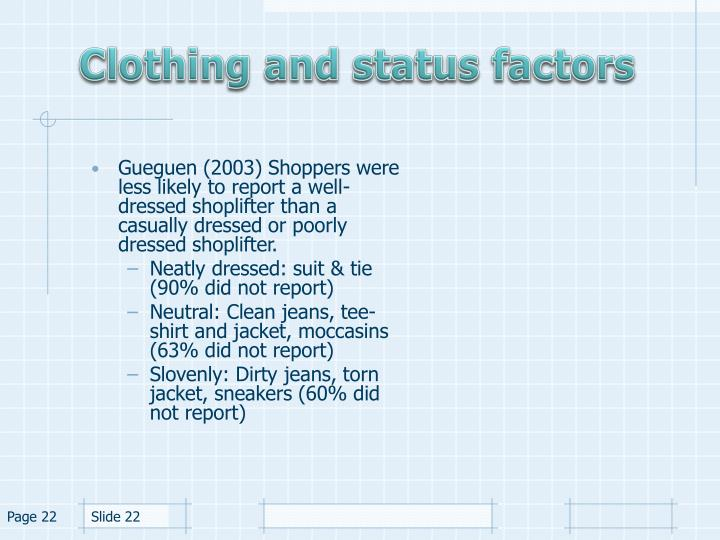 Clothing and status factors