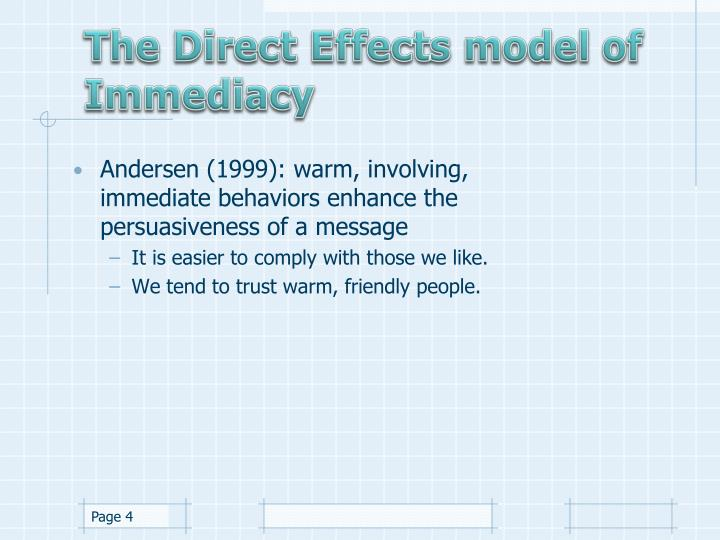 The Direct Effects model of Immediacy