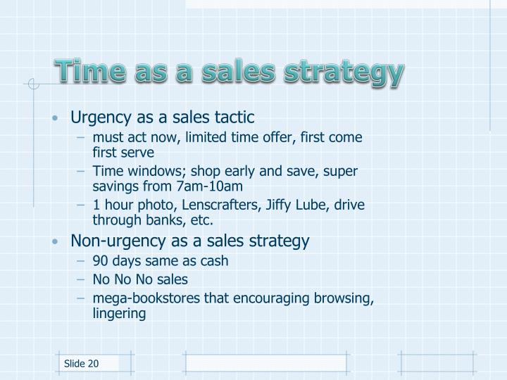 Time as a sales strategy