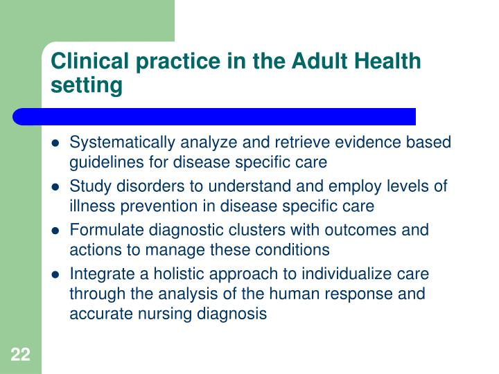 Clinical practice in the Adult Health setting
