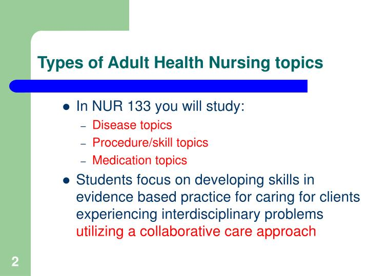 Types of adult health nursing topics