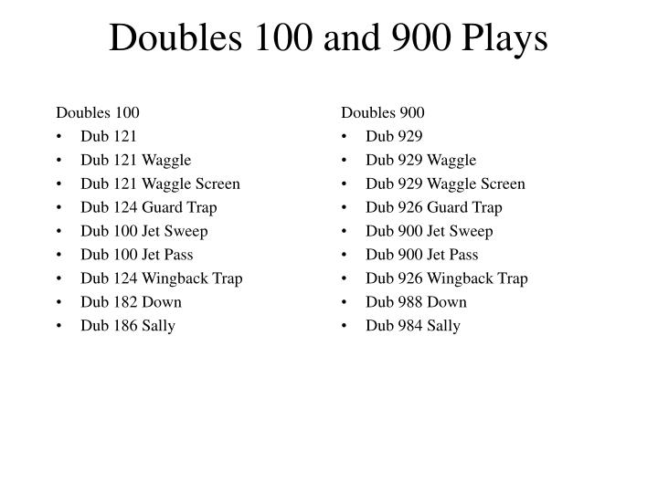 Doubles 100 and 900 plays