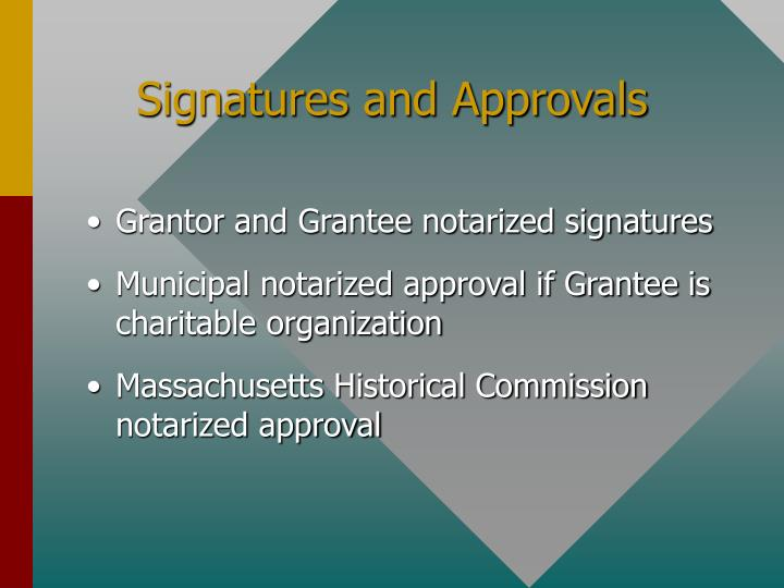 Signatures and Approvals