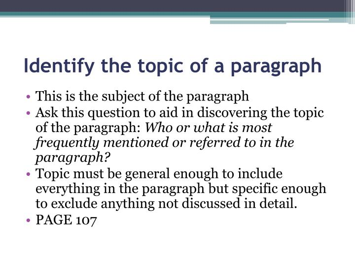 Identify the topic of a paragraph