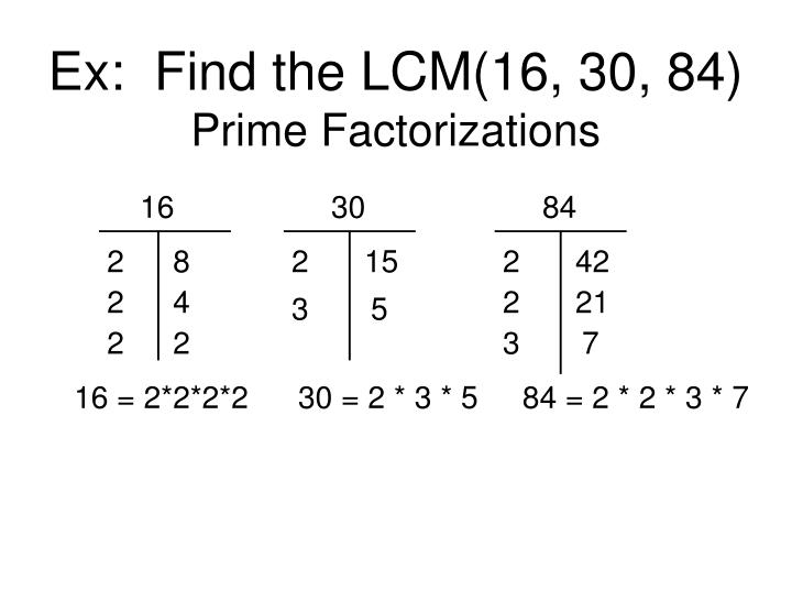 Ex:  Find the LCM(16, 30, 84)