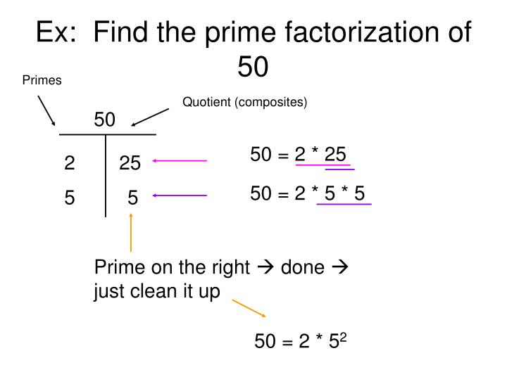 Ex:  Find the prime factorization of 50