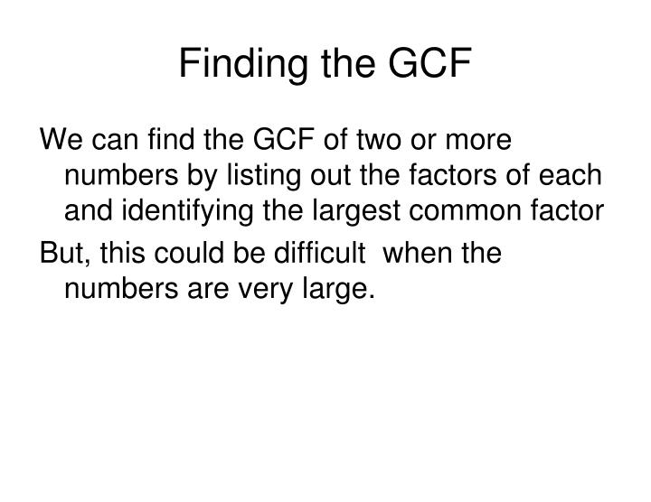 Finding the GCF