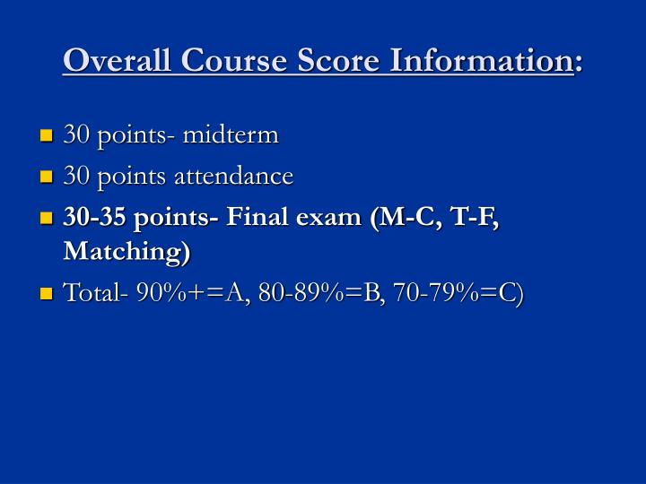 Overall Course Score Information
