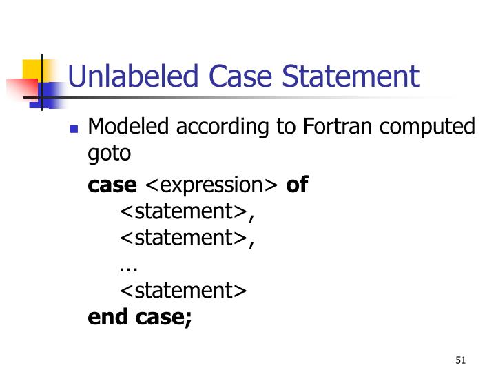 Unlabeled Case Statement