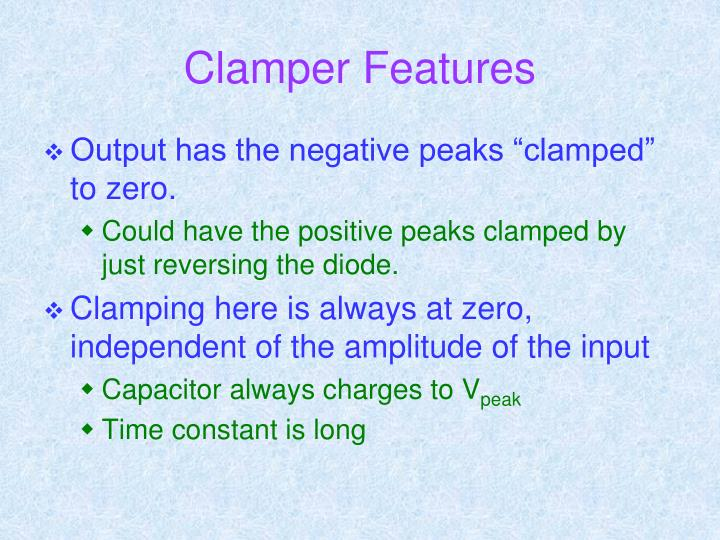 Clamper Features