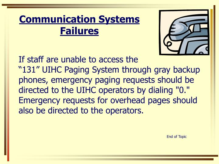 Communication Systems Failures