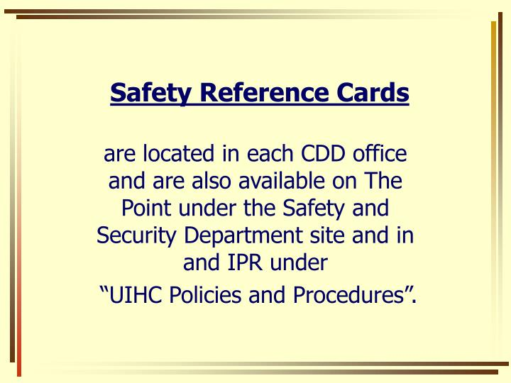 Safety Reference Cards
