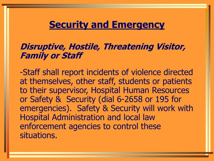 Security and Emergency