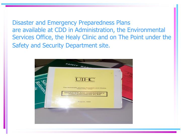 Disaster and Emergency Preparedness Plans