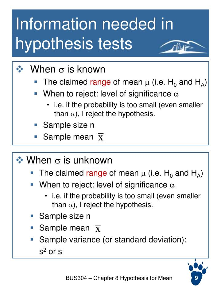 Information needed in hypothesis tests