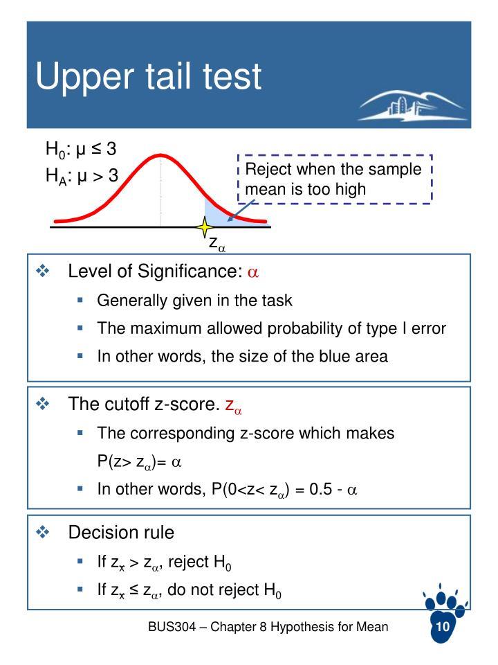 Upper tail test
