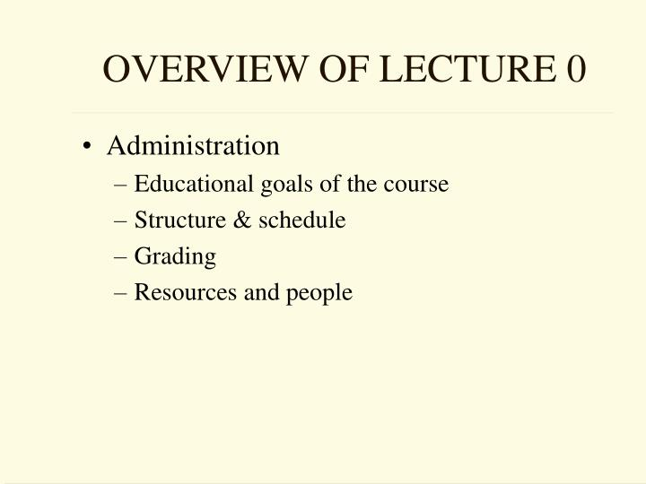 OVERVIEW OF LECTURE 0